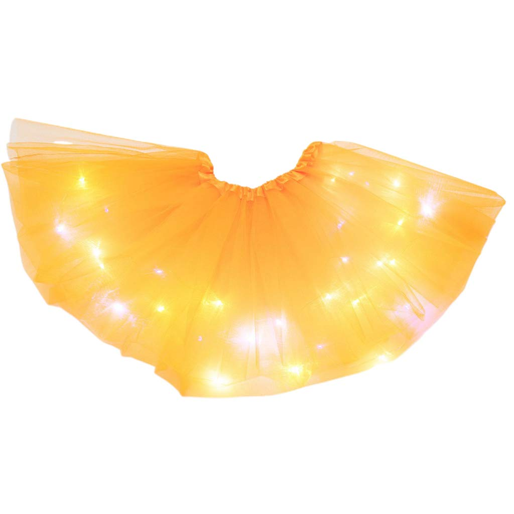 VOVOL Little Girls LED Light Up Tutu Skirt Neon Colorful Luminous Party Dance Dress Baby Girls Dance Tutu Pettiskirt