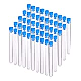 BENECREAT 30 Pack 15ml Clear Plastic Test Tubes Vial Tubes with Blue Stopper Caps for Jewelry Beads Crafts, Liquids and Scientific Experiments