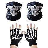VIPITH 1 pair of Skeleton Gloves and 2-pack Skull Face Masks, Skeleton Pattern Glow in the Dark Knit Gloves and Seamless Multi Function Skull Tube Tubular Half Face Mask Headband Headwear Neck Warmer