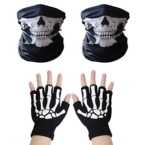 VIPITH 1 pair of Skeleton Gloves and 2-pack Skull Face Masks, Skeleton Pattern Glow in the Dark Knit Gloves and Seamless Multi Function Skull Tube Tubular Half Face Mask Headband Headwear Neck Warmer by VIPITH