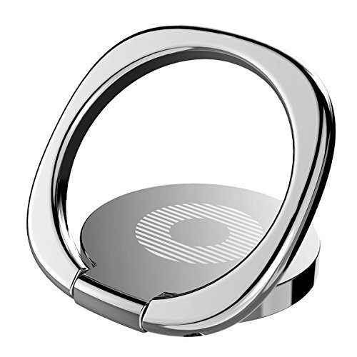 Phone Ring, Baseus Finger Ring Stand Ultra-thin Swivel Ring Buckle Phone Grip Kickstand Cell Phone Stand for Universal Smartphone iPhone X 8 Plus 7 7 Plus /6s 6 plus /Galaxy S8 plus (Silvery)