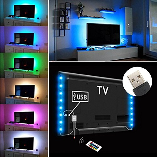 Exgreem Bias Lighting TV Backlight for HDTV LED Strips Led Lights with Remote Control, 2 RGB LED Strip Home Multi Color RGB LED Neon Accent TV Lighting for Flat Screen TV Accessories, Desktop PC