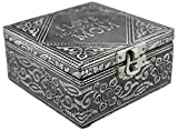 VGI Elegant Jewelry Box with Hammered Metal Cladding and Soft Fabric Interior (For Mom, Silver Finish)