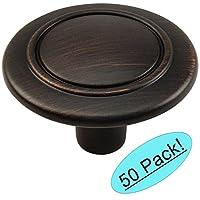"Cosmas 6276ORB Oil Rubbed Bronze Cabinet Hardware Round Knob - 1-1/4"" Diameter - 50 Pack"