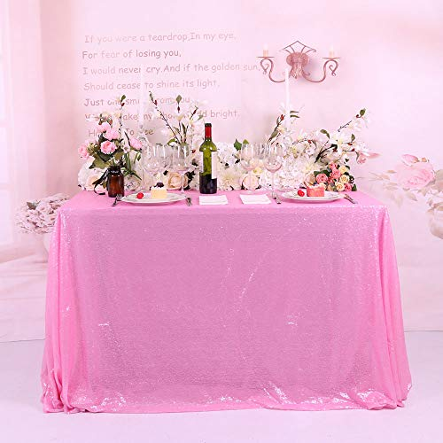 BalsaCircle TRLYC Halloween Party Blush Pink Sequin Tablecloth,Rectangle-60x120Inch -