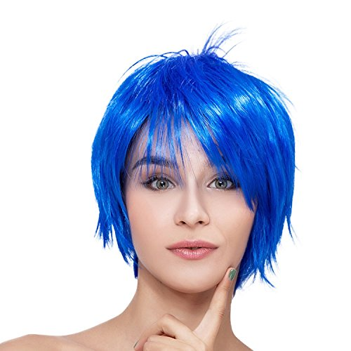 [Kalyss Short Straight Women's Blue Flat Bangs Cosplay Party Heat Resistant Full Hair Wigs] (Blue Wigs For Women)