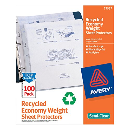 Avery Easy Load Top Loading Recycled Polypropylene Sheet Protectors, 100/box (75537)
