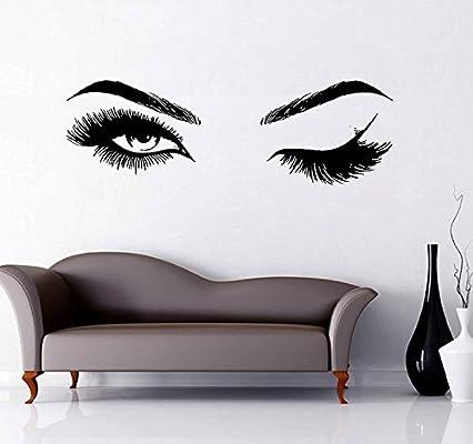 907e0f157da Eyes Wall Decal Eyelashes Wall Mural Art Decor Sticker Make Up Wall Decal  Girls Eyes Eyebrows