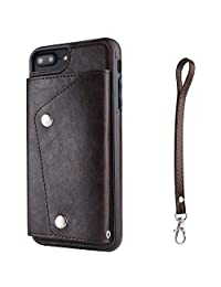 IPhone 7 Plus Phone Case Wallet Cover with Card Holder Hand Straps, Dark Brown