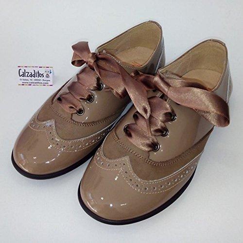 6173305cf8 Andanines Zapatos Blucher de para niña o Mujer de piel Charol Castoro -  Marrón