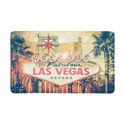 "InterestPrint Vintage Las Vegas Boulevard Entrance Sign City View Doormat Anti-Slip Entrance Mat Floor Rug Indoor/Outdoor/Front Door Mats Home Decor, Rubber Backing Large 30""(L) x 18""(W)"