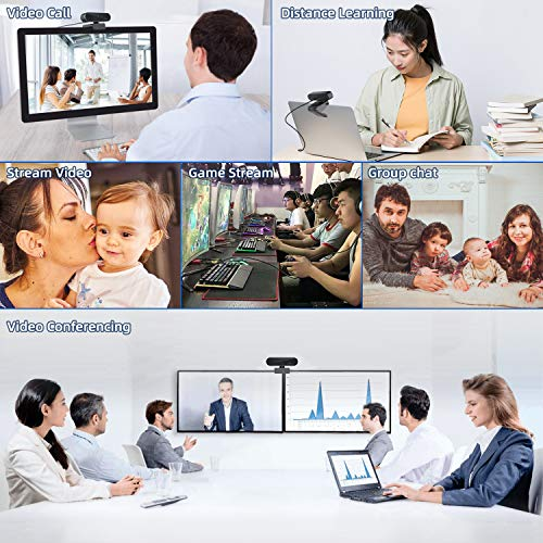 1080P Webcam AutoFocus with Microphone, USB Computer Camera Live Streaming Webcam, Wide Angle Widescreen Webcam for Laptop, Desktop ,Video Conferencing, Recording - Black