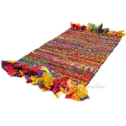 Eyes of India - 2 X 3 ft Multicolor Colorful Chindi Woven Rag Rug Indian Boho Decorative -