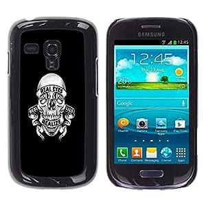 Samsung Galaxy S3 III MINI (NOT FOR S3!!!) / i8190 / i8190N , Radio-Star - Cáscara Funda Case Caso De Plástico (Realize Lies Skull)