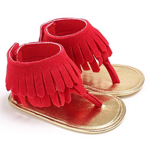 Zapatos de bebé, Switchali Recién nacido bebe niña verano Niños Cuna Suela blanda Antideslizante Sandalias Zapatillas niñas vestir floral borla casual moda Calzado Rojo (A)
