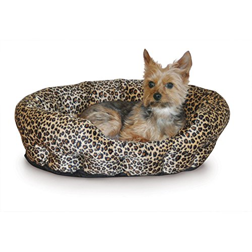 Animal Print Dog Bed - K&H Pet Products Self-Warming Nuzzle Nest Pet Bed Leopard 19