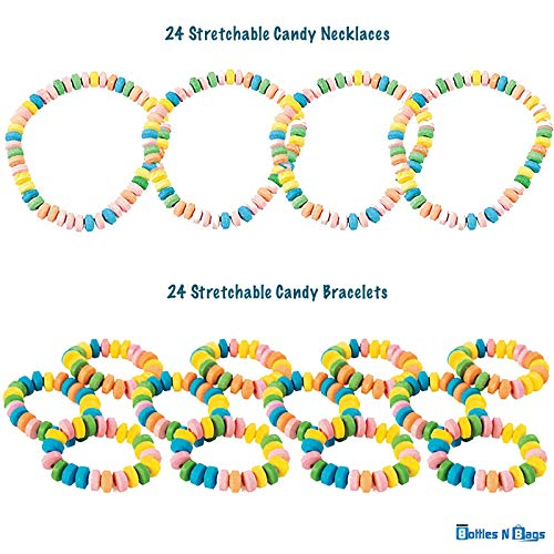 48 PACK Candy Necklaces and Bracelets (24 Pieces of each), Individually Wrapped Bulk Party Favors in Rainbow Colors