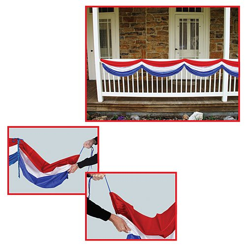 Patriotic Fabric Bunting (red, white, blue) Party Accessory  (1 count) (1/Pkg)