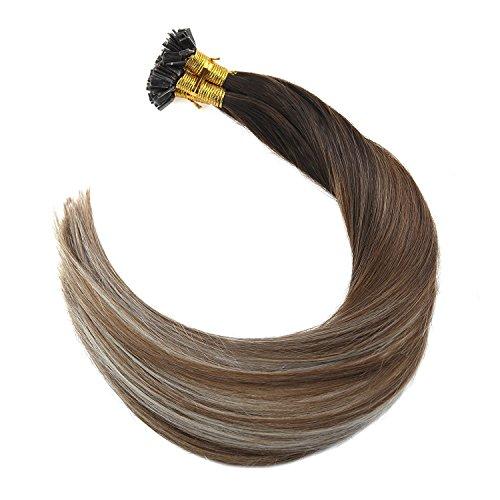 Flat tip cold fusion hair balayage human hair extensions.