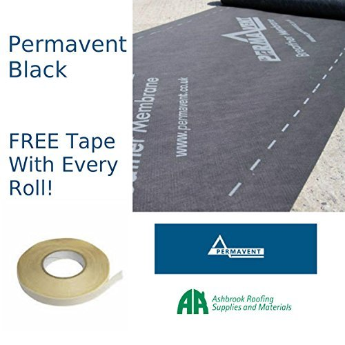 Breathable Membrane - Permavent Black | Breather Membrane | Breathable Roofing Felt | 1m x 50m | With FREE Tape by Ashbrook Roofing