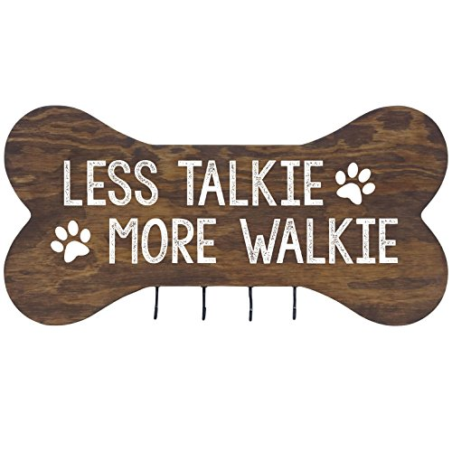 Rooms Organized Rustic Less Talkie More Walkie Wall Mounted Dog Bone Pet Leash Rack,Dog Collar Holder New Home Decor Gift Ideas and 4 Hooks 16
