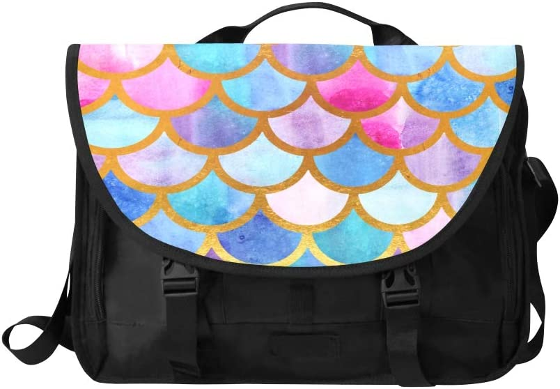 Laptop Satchel Bag Colorful Beautiful Mermaid Multi-Functional Business Laptop Briefcase Fit for 15 Inch Computer Notebook MacBook