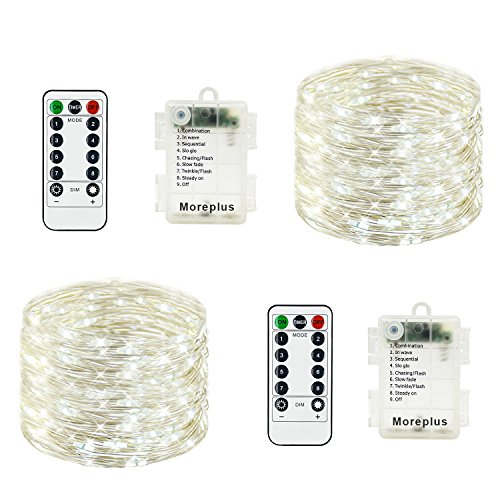 Moreplus 2 Pack Battery Operated Fairy String Lights Waterproof 8 Modes 33ft 100 LED Silver Wire Decorative Lights with Remote Control for Outdoor Indoor Bedroom Garden Wedding Christmas (White) -