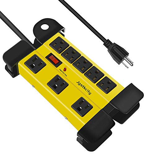 8-Outlets Heavy Duty Surge Protector Outdoor Power Strip,6 Ft Power Cord Metal Power Strip for Appliance Garage,ETL…