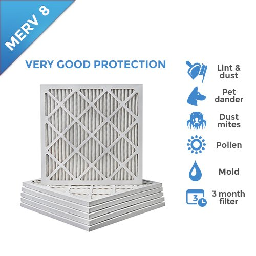 20x22x1 MERV 8 Pleated AC Furnace Air Filters. 12 PACK