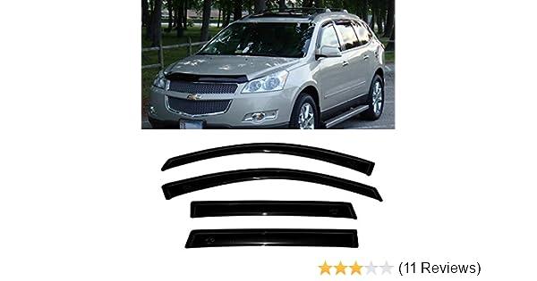 AUTEX Window Visor Visor Tape on Fits for 2009 2010 2011 2012 2013 2014 2015 2016 2017 Chevrolet Traverse Side Window Wind Deflector Sun Rain Guard 4Pcs a Set