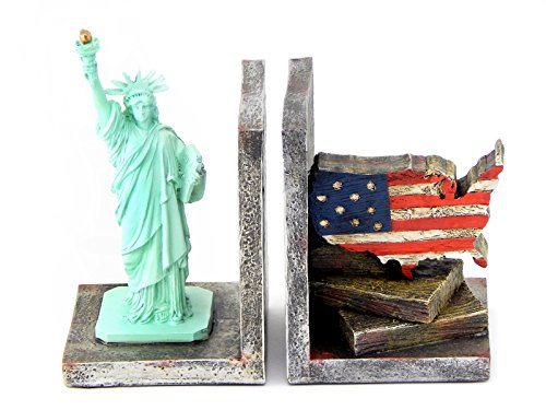 Decorative Bookends Statues of Liberty and USA Map Flag - City Cast Signed