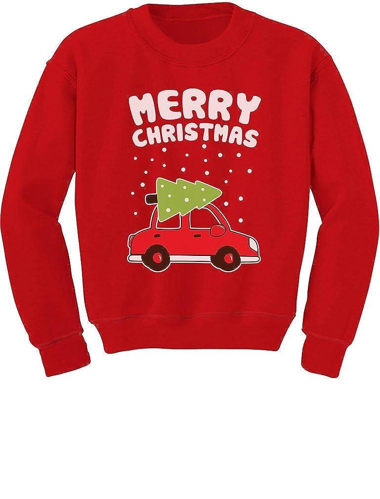 TeeStars - Merry Christmas Xmas Tree on Car Cute Xmas Toddler/Kids Sweatshirts GhPhr0rgf5
