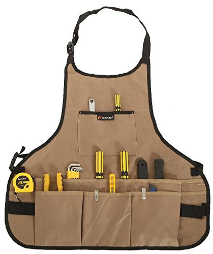 JM-capricorns 600D Oxford Cloth Heavy Duty Work Apron, Adjustable and Durable Tool Aprons - Khaki by JM-capricorns