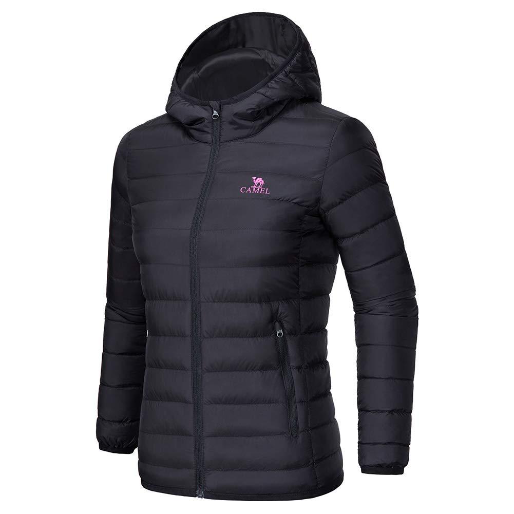 CAMEL CROWN Women's Down Jacket Hooded Winter Light Weight Short Puffer Coats Packable Warm Windproof Ladies Parka Black Size M