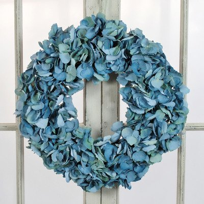 Jane Seymour Botanicals Dried Hydrangea Wreath, 16-Inch, Blue