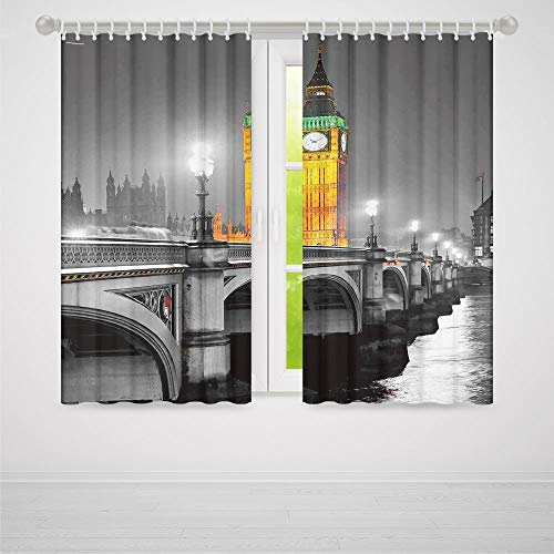 TecBillion Window Blackout Curtains,London for Living Room,The Big Ben and The Westminster Bridge at Night in UK Street River European Look Decorative,79Wx62L Inches ()