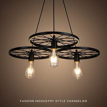 Chandelier topsharp 3 arms e27 hanging black metal wheels ceiling chandelier topsharp 3 arms e27 hanging black metal wheels ceiling pendant light vintage industrial retro country aloadofball Gallery