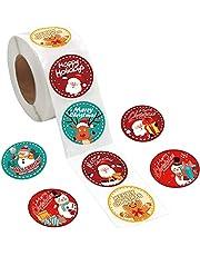 "560PCS Christmas Sticker for Envelope, 1.5"" Round Merry Christmas Sticker, 8 Designs Christmas Decoration Envelope Seal Sticker Card Gift Envelope Box"