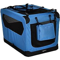 AmazonBasics - Transportín para mascotas abatible, transportable y suave de gran calidad, 76 cm, Azul