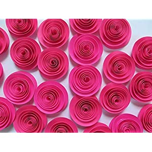 "Fuchsia Paper Flowers Set of 24, Bulk Hot Pink 1.5"" Roses Lot, Girl Nursery Ideas, Baby Shower Decor, Wedding Reception Table Scatter 33"