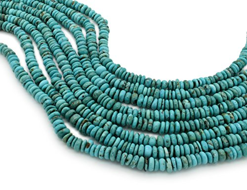 Bluejoy Genuine Natural American Turquoise 7mm Free-Form Disc Bead 16 inch Strand for Jewelry Making