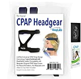 RespLabs Original CPAP Headgear Replacement, 4 Point Standard Strap Connection, Universal Fit for ResMed, Phillips Respironics & Most Other BiPAP Masks. Full Face or Nasal + Sample Wipe & CPAP Chap