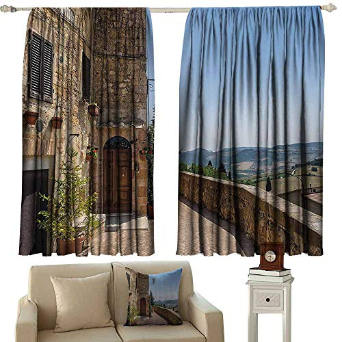 Italian Decor Bedroom windproofcurtain The Walls of Pienza in Tuscany Historical European Landmark Privacy Protection 63