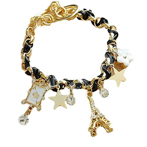 Paris Eiffel Tower Crown Leather Rope Bracelet Anklet