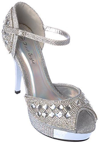 Rhinestone Sight First Shoes Ankle Evening Sandal Dress Women Strap Silver FqYqd1