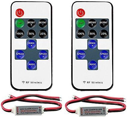 VIPMOON 2 paquete de 11 teclas RF Mini inalámbrico controlador remoto con conector de CC para un solo color 3528 5050 LED luces de tira