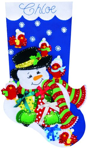 Tobin DW5231 Snowman and Cardinals Stocking Felt Applique Kit, 18-Inch Long