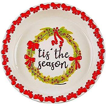 Pie Dish Christmas Ceramic Baking Serving Deep Pan Colorful W Embossed Rim 10.25