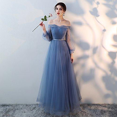 Sommer Brautjungfer Blau Schwestern Lange Kleid Gruppe Bankett Kleid MoMo Brautjungfer Blau Kleid Abendkleid U664x