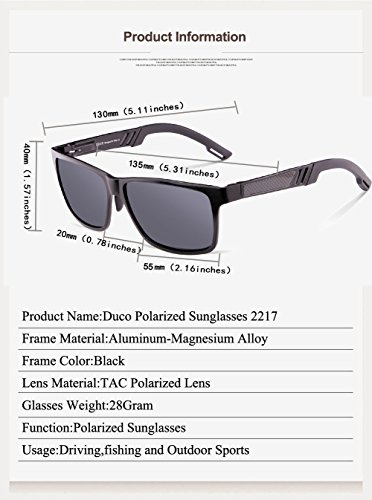 Ultravioleta de Marco 2217 Polarizadas Sol Negro Gris Lente Estilo Gafas Caminante Protección DUCO 8wxSnOn